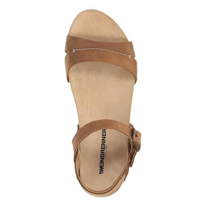 Damskie skórzane sandały weinbrenner, brązowy, 566-4102 - 19
