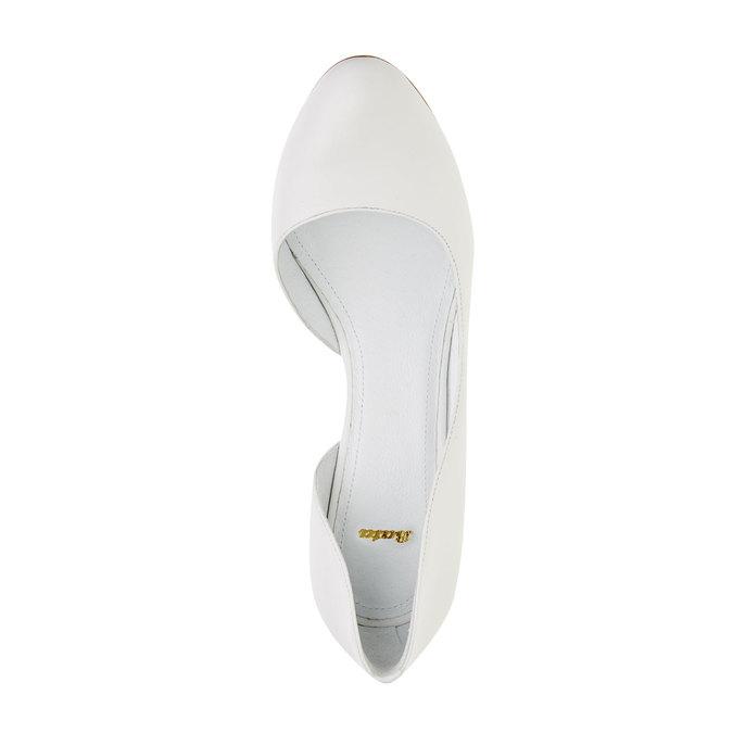 Białe skórzane czółenka bata, biały, 724-1420 - 19