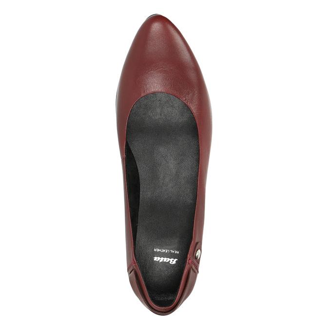 Czółenka ze skóry na niskim obcasie bata, czerwony, 624-5603 - 19
