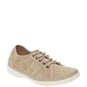 Skórzane buty sportowe z perforacją weinbrenner, beżowy, 546-8238 - 13