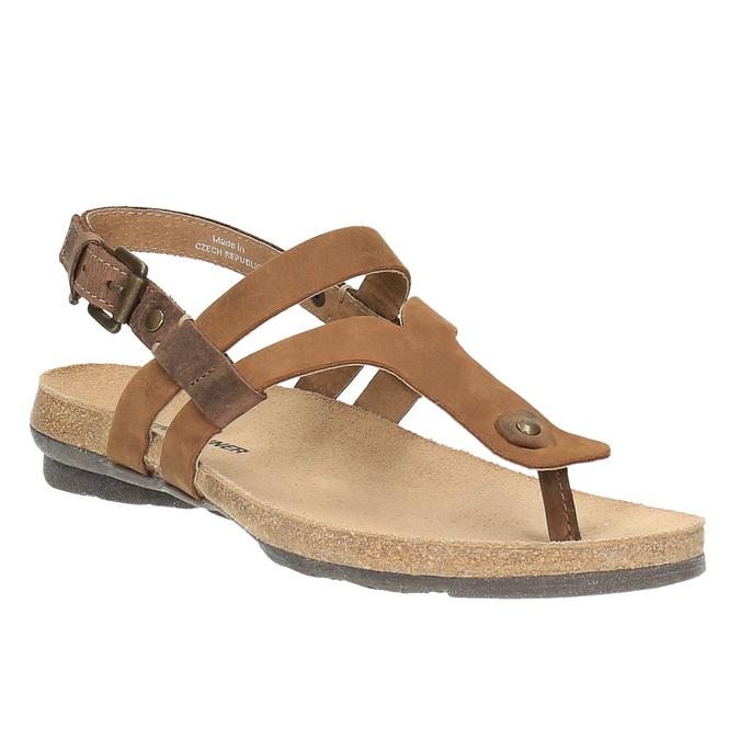 Damskie skórzane sandały weinbrenner, brązowy, 566-4101 - 13