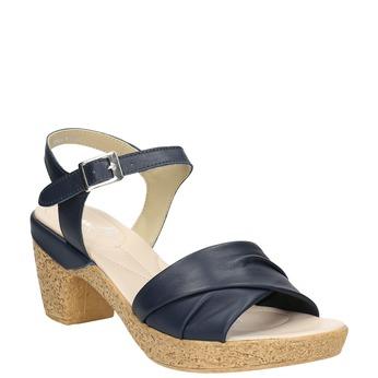Skórzane sandały na niskim obcasie bata-touch-me, niebieski, 666-9203 - 13