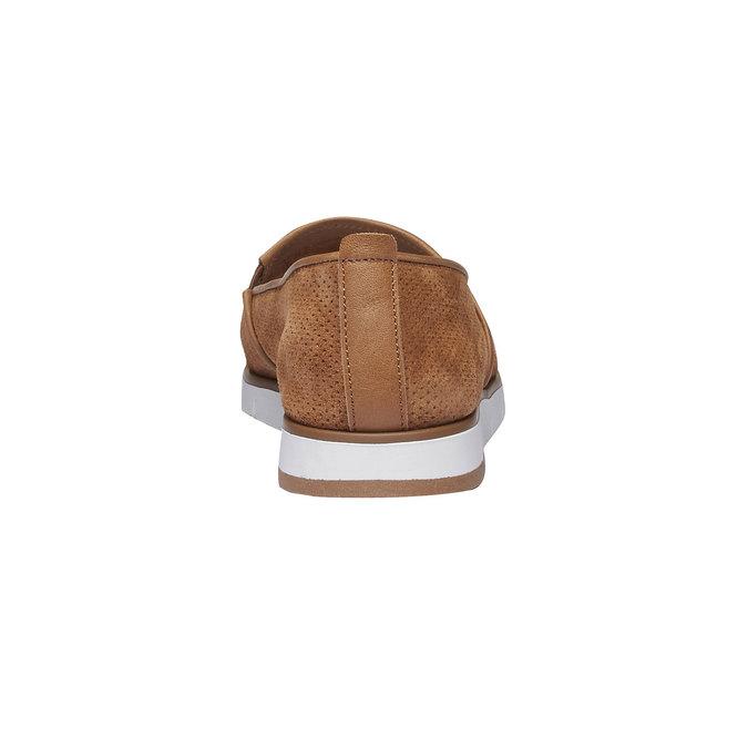 Skórzane buty Slip-on z perforacją flexible, brązowy, 513-3200 - 17
