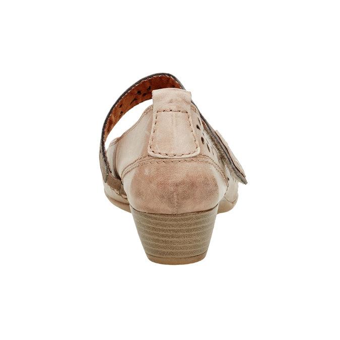 Skórzane czółenka z paskiem bata, brązowy, 624-3103 - 17