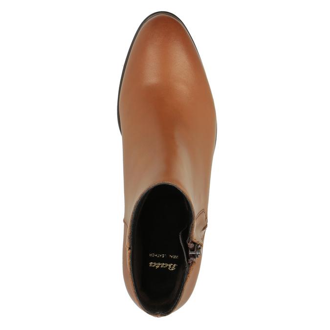 Skórzane botki z suwakami bata, brązowy, 594-3518 - 19