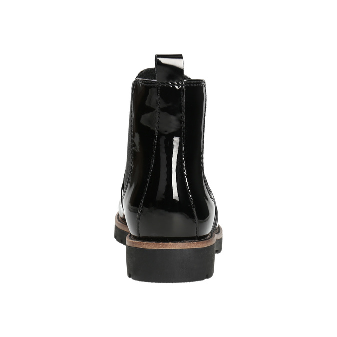Lakierowane botki typu Chelsea na grubej podeszwie bata, czarny, 591-6603 - 17