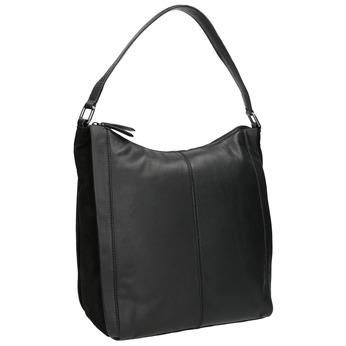 Czarna skórzana torebka w stylu Hobo bata, czarny, 964-6254 - 13