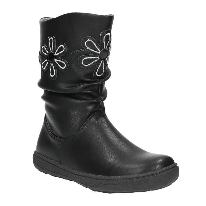 Dziewczęce kozaki z kwiatkami mini-b, czarny, 291-6602 - 13