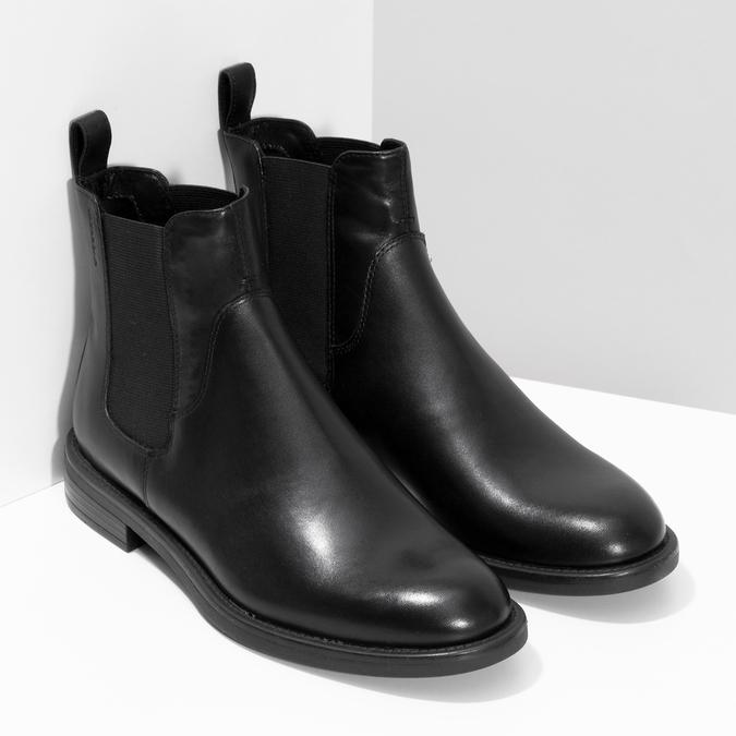 Czarne skórzane botki damskie typu chelsea vagabond, czarny, 514-6007 - 26