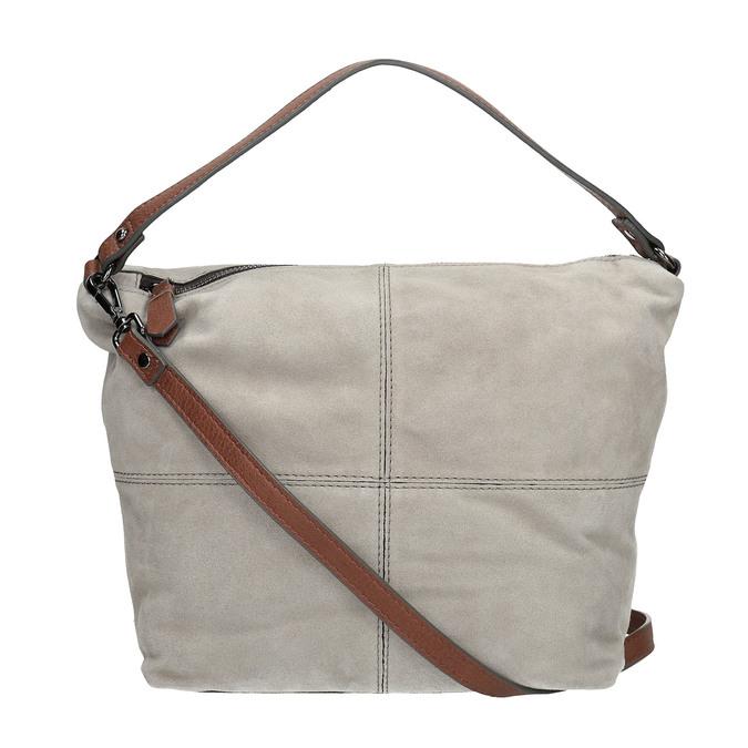 Skórzana torba wstylu hobo bata, szary, 963-2130 - 19