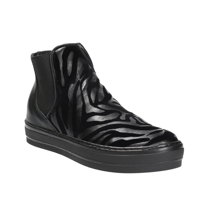Skórzane botki z deseniem zwierzęcym bata, czarny, 546-6601 - 13