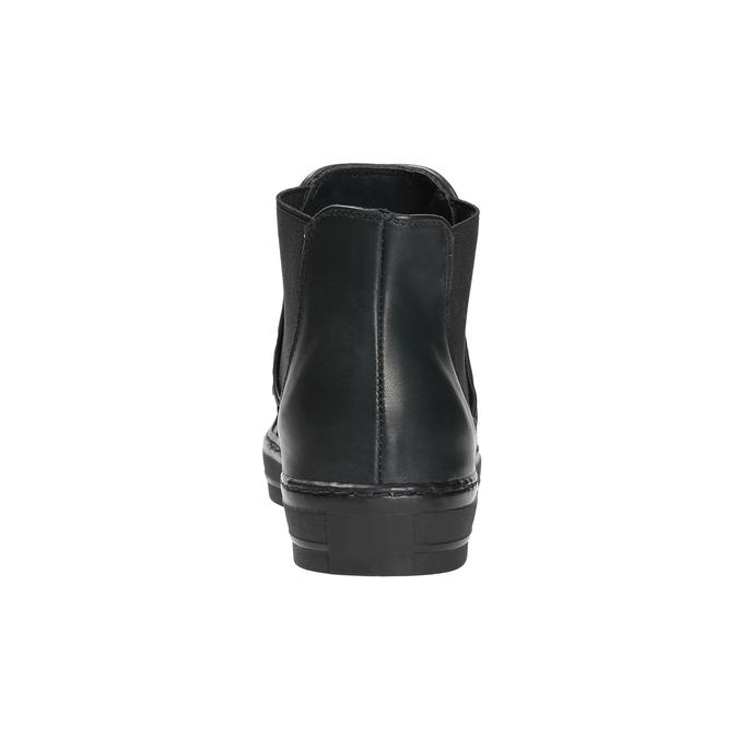 Skórzane botki z deseniem zwierzęcym bata, czarny, 546-6601 - 17