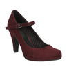 Bordowe czółenka zpaskiem na podbiciu bata, czerwony, 729-5601 - 13