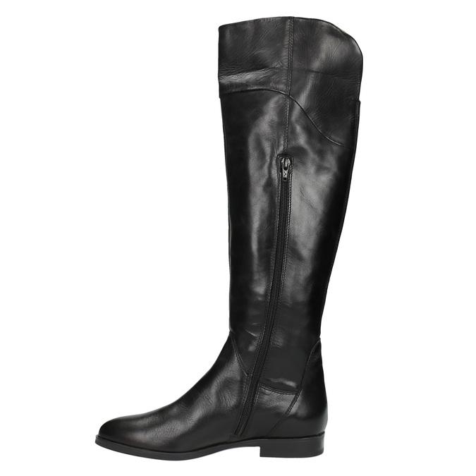 Skórzane kozaki damskie do kolan bata, czarny, 594-6605 - 19