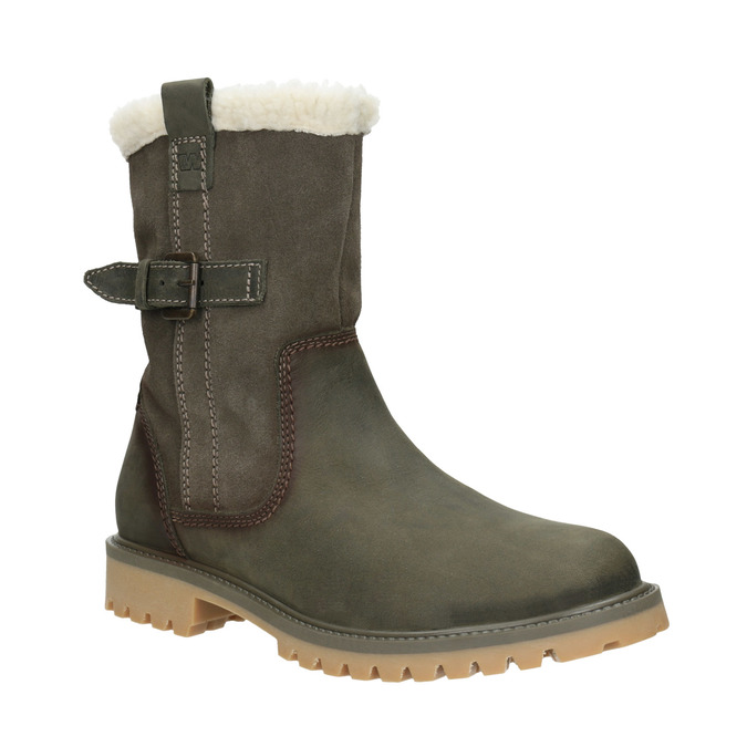 Zimowe buty damskie zfuterkiem weinbrenner, khaki, 594-2455 - 13
