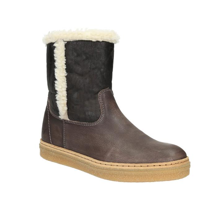 Skórzane buty zimowe z futerkiem weinbrenner, brązowy, 596-8628 - 13