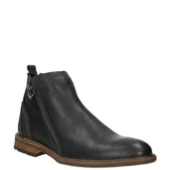 Skórzane buty męskie za kostkę bata, czarny, 894-6660 - 13