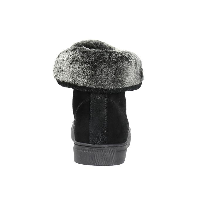 Skórzane trampki za kostkę zfuterkiem bata, czarny, 593-6601 - 17