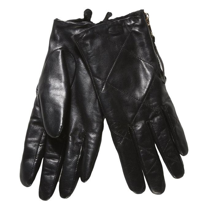 Skórzane damskie rękawiczki z przeszyciami bata, czarny, 904-6108 - 13