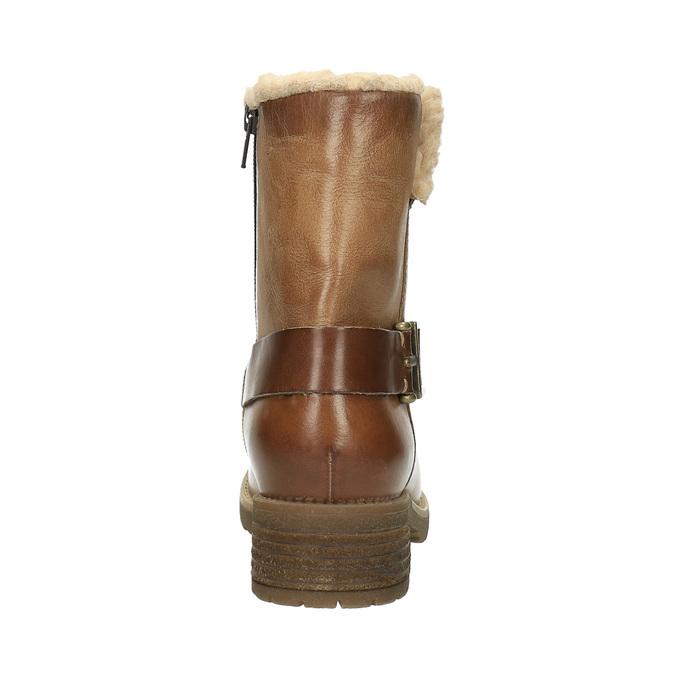Skórzane buty zimowe zfuterkiem bata, brązowy, 594-4609 - 17