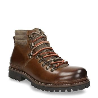 Skórzane buty z oryginalnym sznurowaniem bata, brązowy, 894-4180 - 13
