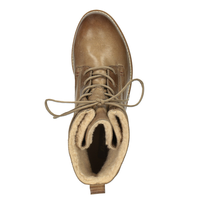Ocieplane botki ze skóry bata, brązowy, 594-4610 - 19