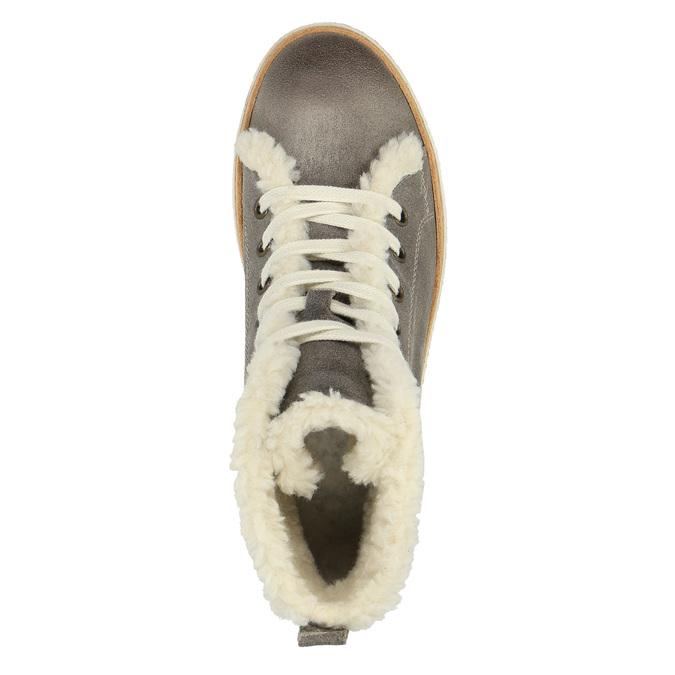 Skórzane buty sportowe do kostki z futerkiem weinbrenner, szary, 596-2627 - 19