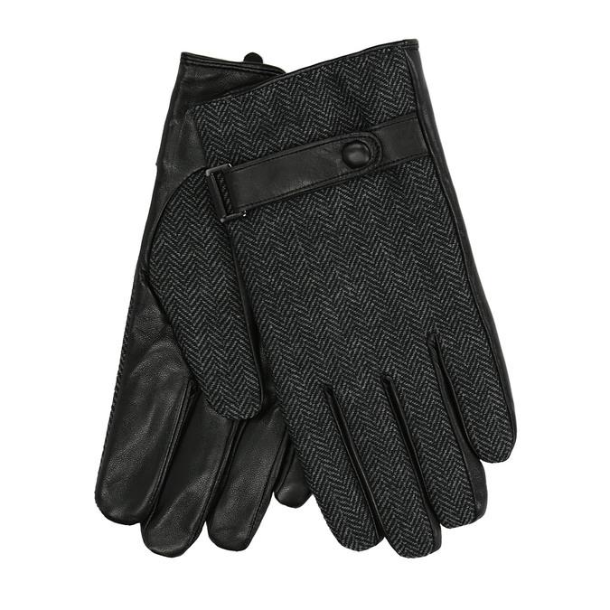 Męskie rękawiczki z paskiem bata, czarny, 909-6297 - 13