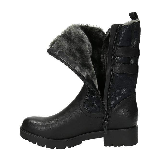 Stylowe damskie kozaki bata, czarny, 599-6610 - 19