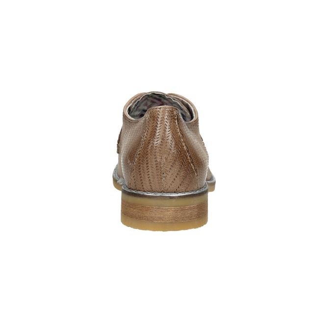 Skórzane półbuty damskie zperforacją bata, brązowy, 526-4621 - 17