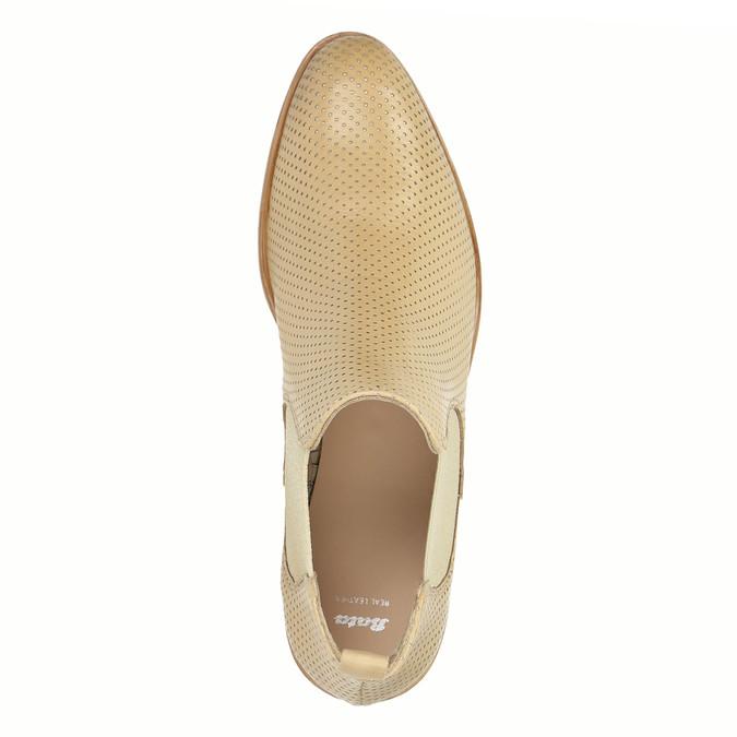 Skórzane botki typu chelsea zperforacją bata, beżowy, 596-3651 - 19