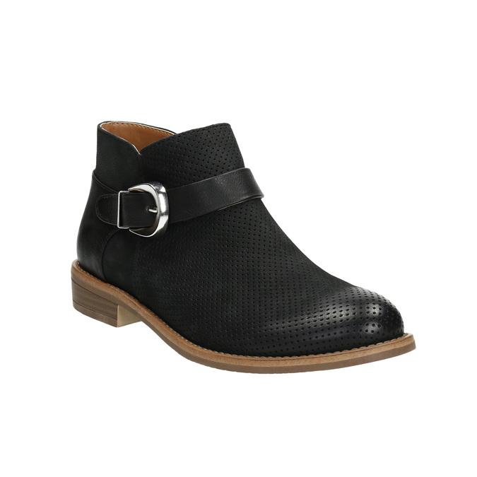 Skórzane botki zklamrami bata, czarny, 596-6634 - 13