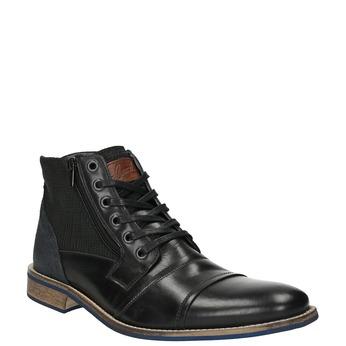 Skórzane buty za kostkę na nieformalnej podeszwie bata, czarny, 894-6684 - 13