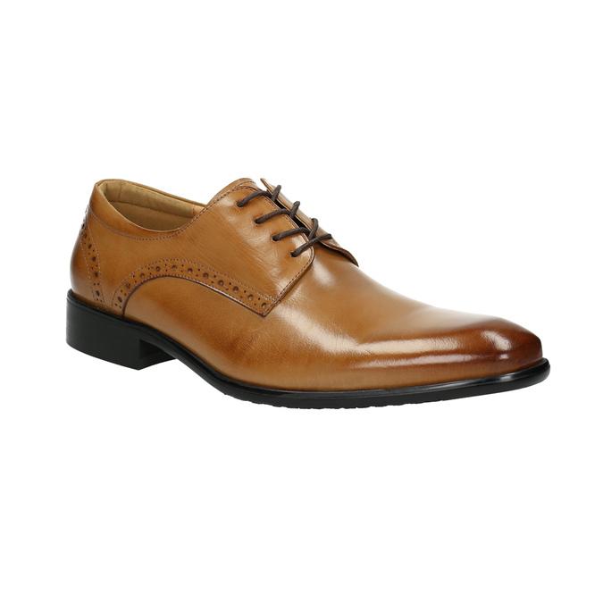 Skórzane półbuty męskie ze zdobieniami bata, brązowy, 826-3821 - 13