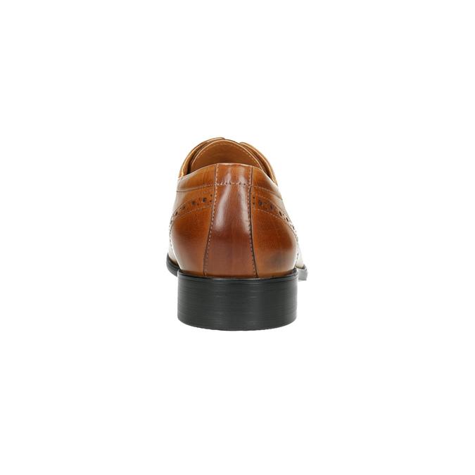 Skórzane półbuty męskie ze zdobieniami bata, brązowy, 826-3821 - 17