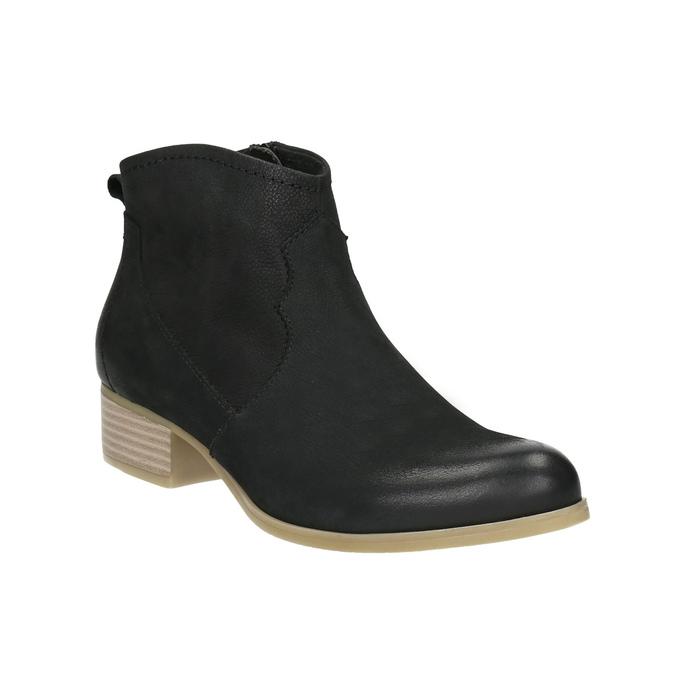 Czarne skórzane botki bata, czarny, 596-6633 - 13