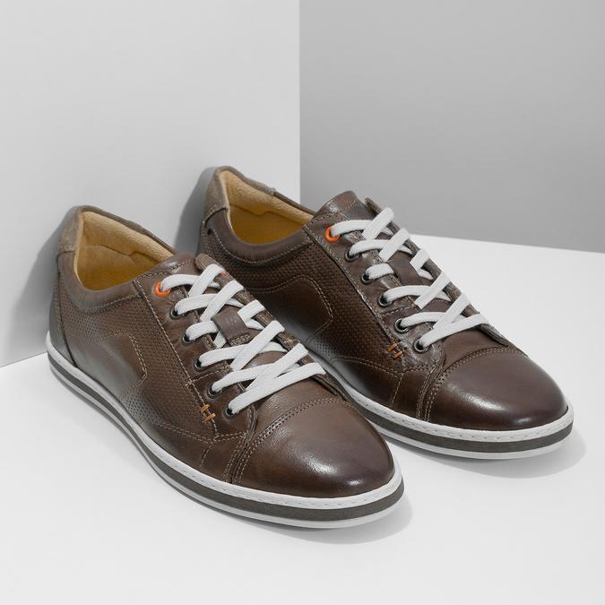 Męskie skórzane buty sportowe bata, brązowy, 846-4617 - 26