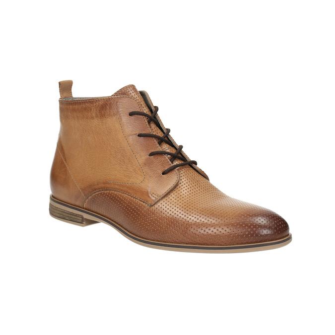 Skórzane botki zperforacją bata, brązowy, 596-4645 - 13