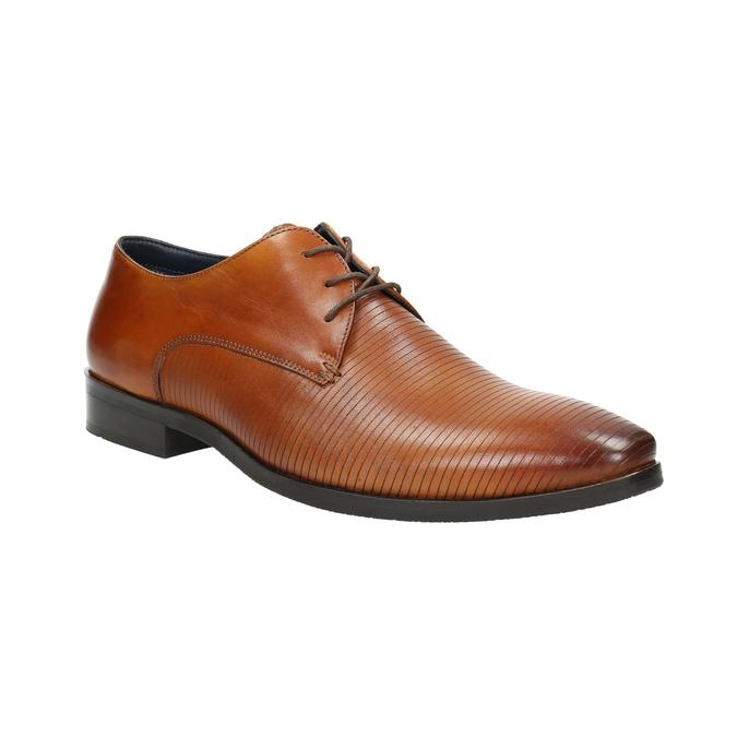 Brązowe skórzane półbuty typu angielki bata, brązowy, 826-3804 - 13