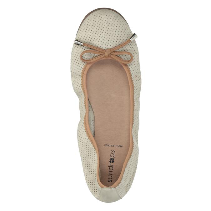 Skórzane baleriny zelastyczną lamówką bata, beżowy, 526-8617 - 19