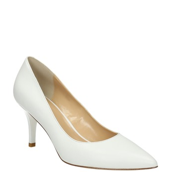 Damskie skórzane czółenka bata, biały, 624-1632 - 13