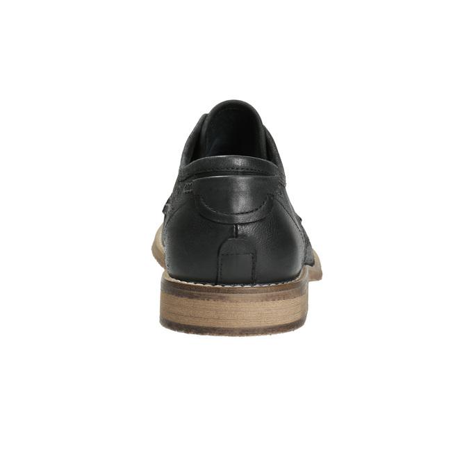 Skórzane półbuty męskie zkontrastowymi przeszyciami bata, czarny, 826-6815 - 17