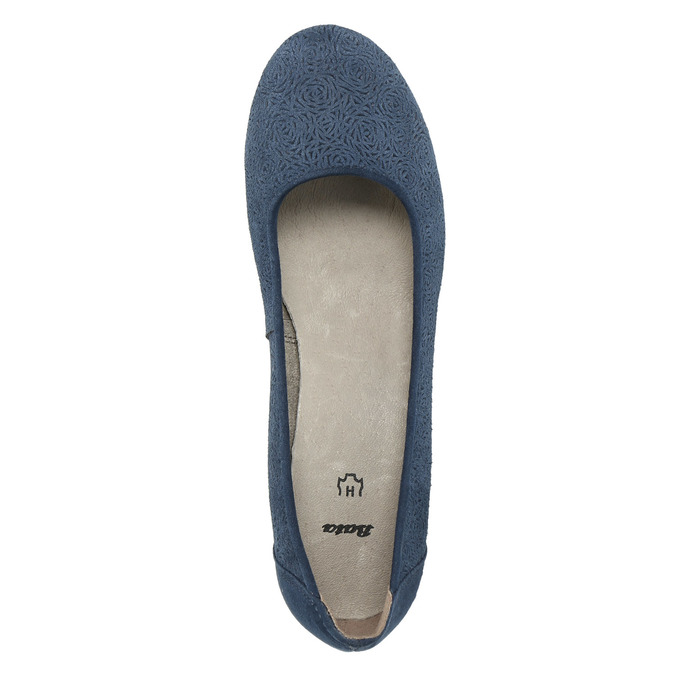 Skórzane czółenka oszerokościH bata, niebieski, 623-9602 - 19
