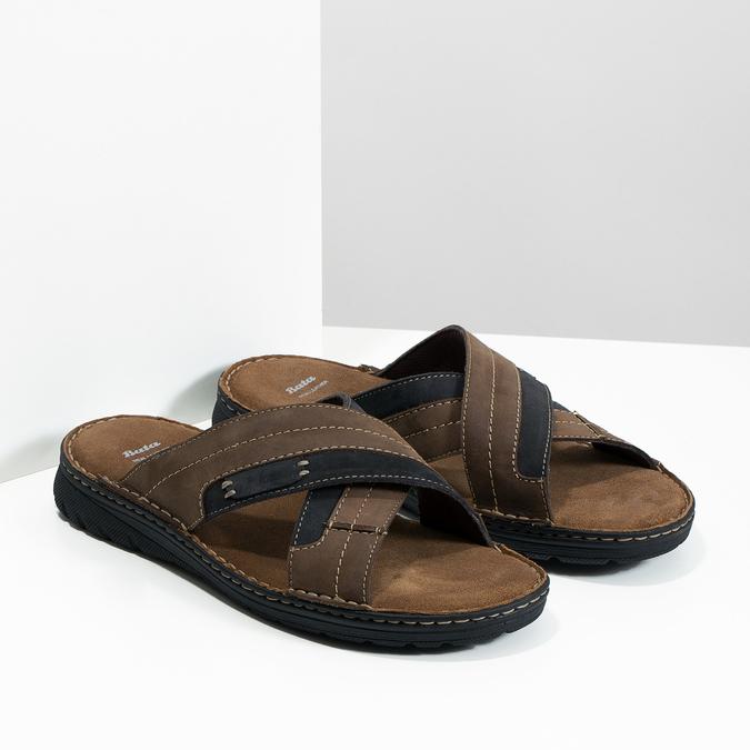 Letnie skórzane klapki męskie bata, brązowy, 866-4612 - 26