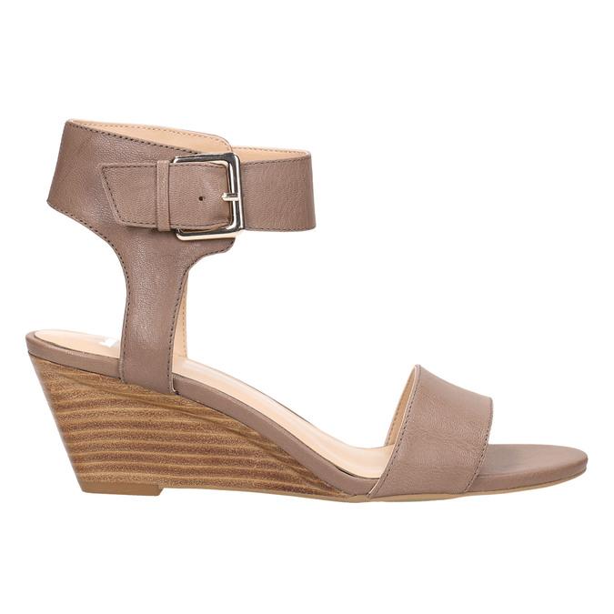 Skórzane sandały na koturnach bata, brązowy, 666-4607 - 15