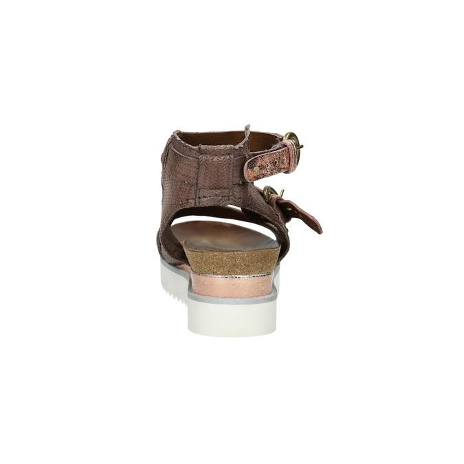Sandały damskie na kontrastowej podeszwie bata, brązowy, 666-4604 - 17