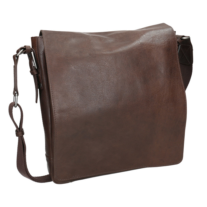 Skórzana torba typu crossbody bata, brązowy, 964-4222 - 13