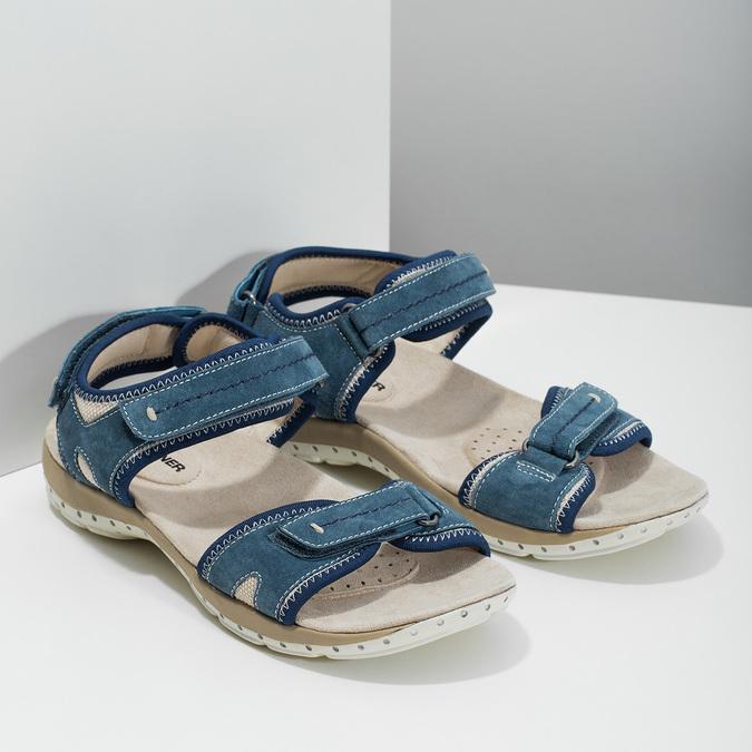 Skórzane sandały wstylu outdoor weinbrenner, niebieski, 566-9608 - 26