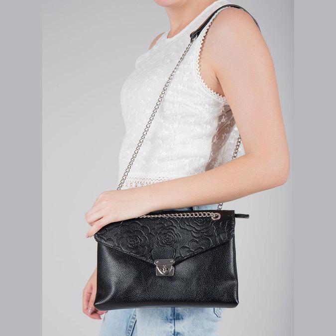 Mała czarna torebka zklapą bata, czarny, 961-6731 - 17