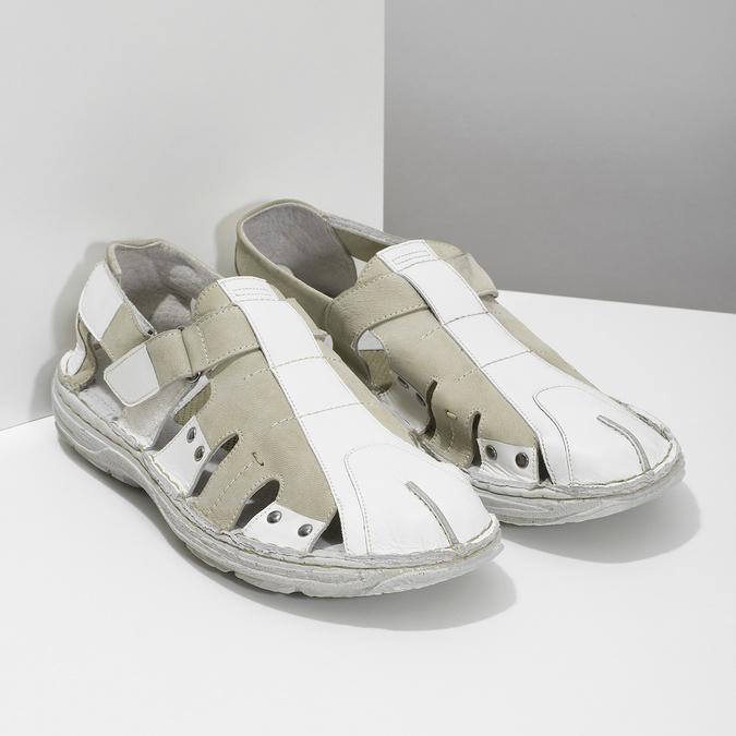 Jasne skórzane sandały męskie bata, biały, 866-1622 - 26